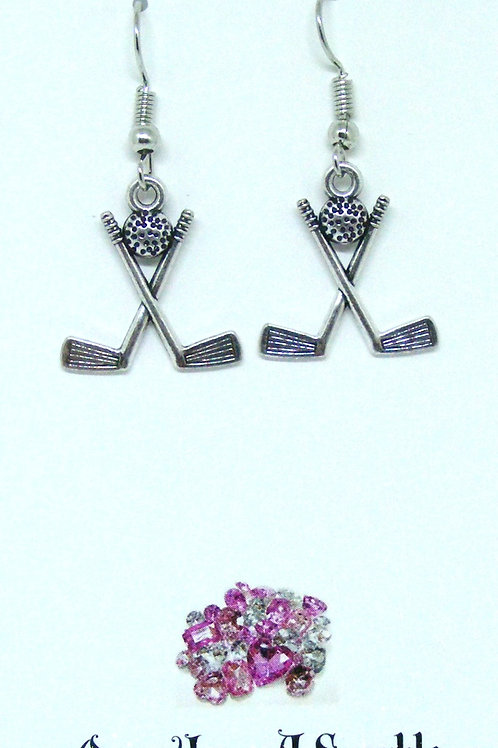 Hook earrings crossed golf clubs