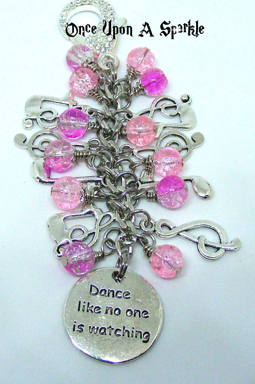 Dance like no one is watching pink crackle music bag dangle