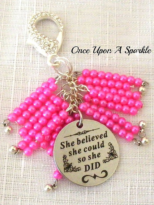 Bag Dangle - Message Hot Pink