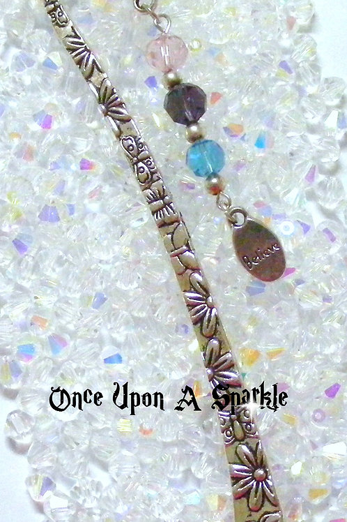 antique silver bookmark believe pink amethyst blue