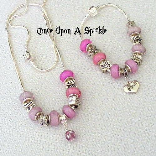 Jewellery Set - Pink to Grey Gradient