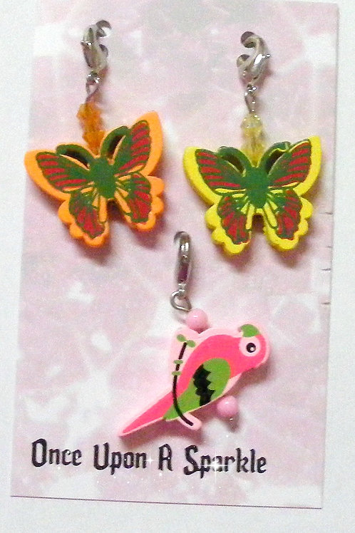 Zipper Pulls - 2 Butterflies 1 Parrot pink