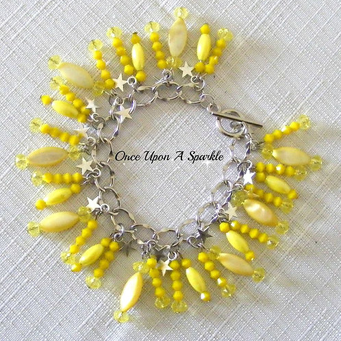 yellow mother of pearl beads with silver stars sparkly beads