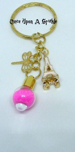 Key ring vial gp pink glitter eiffel tower dragonfly