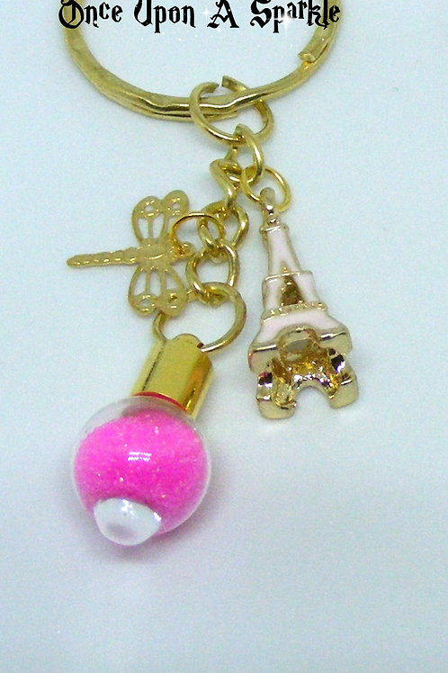 Pink Glitter Key Ring with Eiffel Tower & Dragonfly
