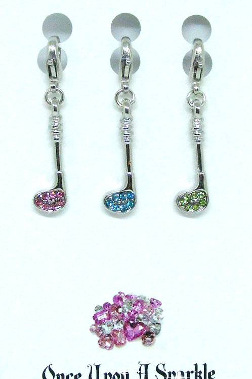Zipper Pulls 3 golf clubs pink aqua green