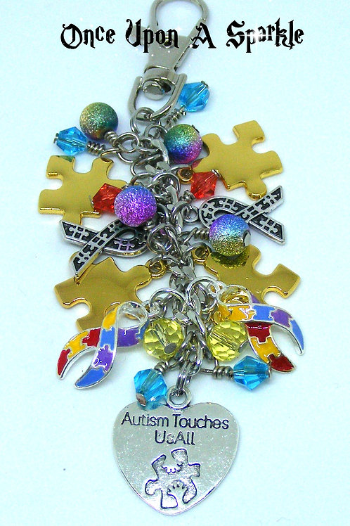Autism touches us all bag dangle jigsaw pieces & ribbons