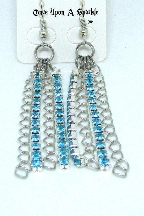 Aqua Rhinestone & Chain Earrings