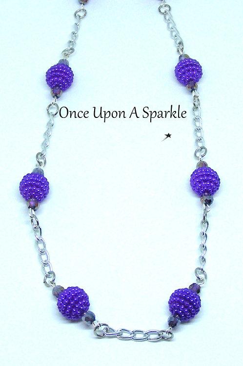 Purple Bubble & Chain Long Necklace