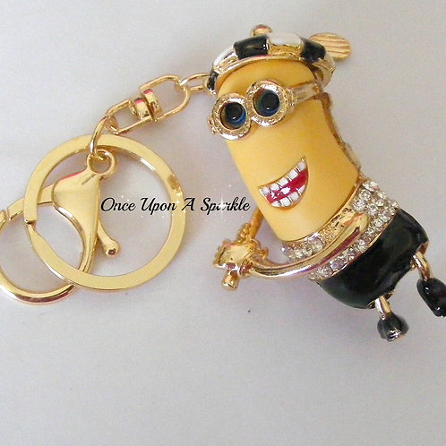 Key Ring/Bag Dangle - Minion Golfer Black
