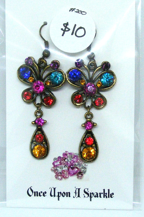 Butterfly sparkly crystal hook earrings