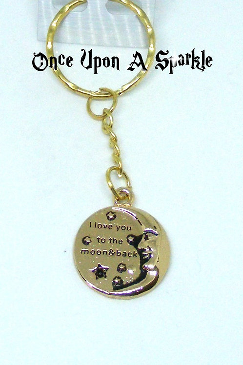 Gold toned I love you to the moon and back key ring