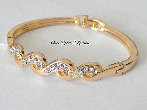 Bracelet - Gold Bangle Waves & Crystals
