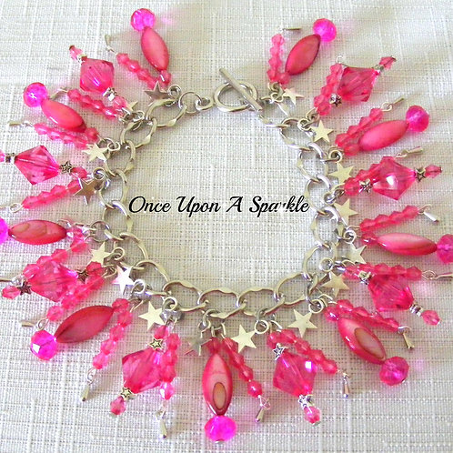 hot pink mother of pearl beads sparkly hot pink beads & silver stars & tear drops