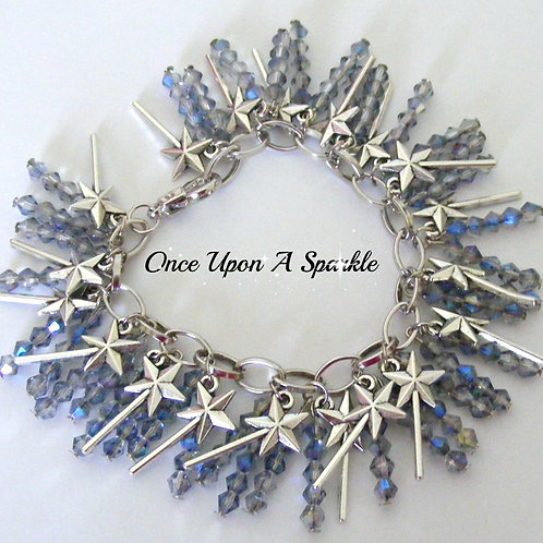 sparkly sky blue beads with antique silver magic wands