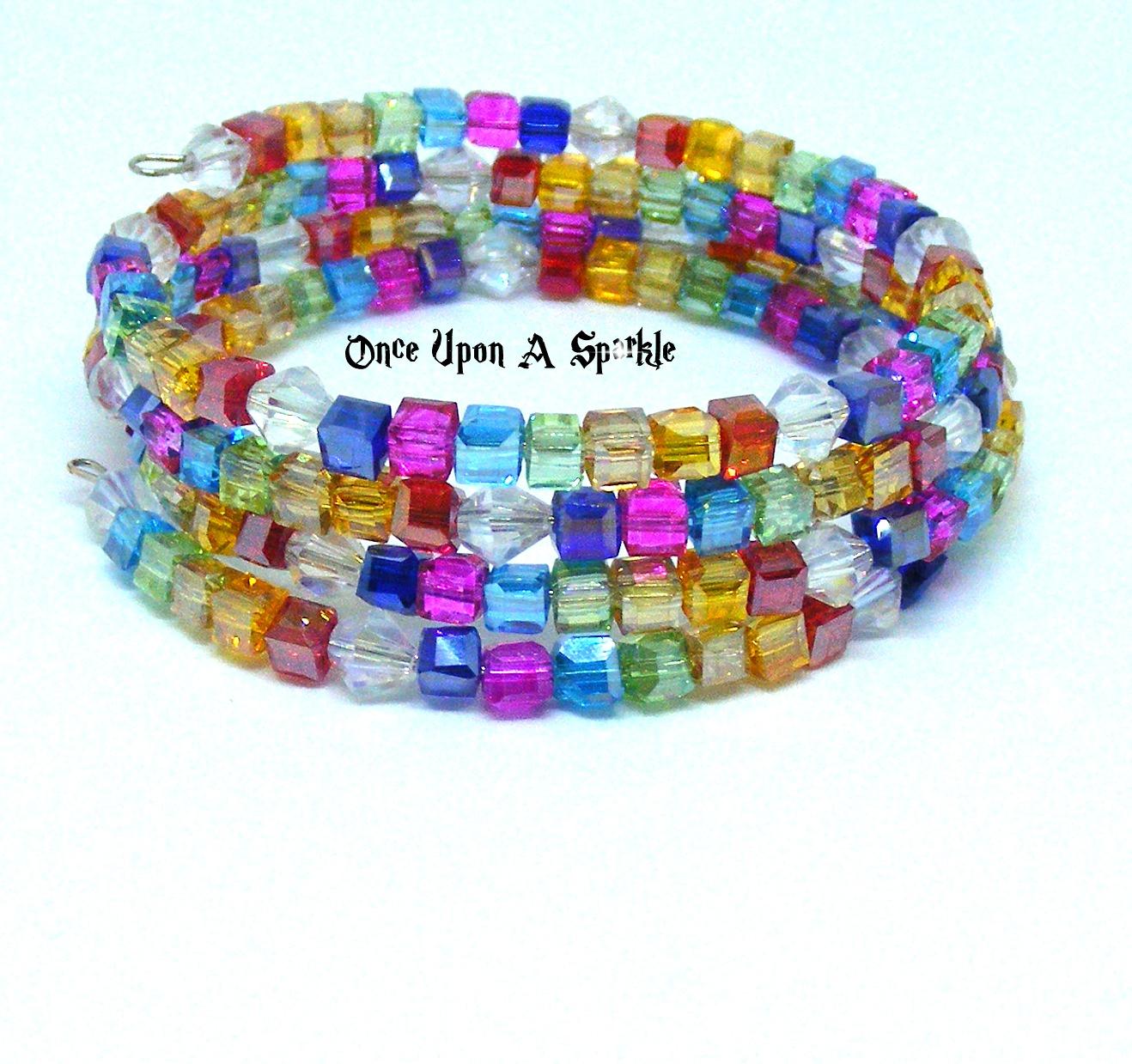 Bracelet memory wire Austrian Crystal Rainbow