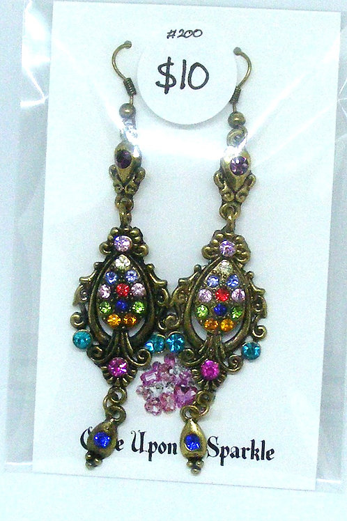Picture Frame Dangle Earrings with Crystals
