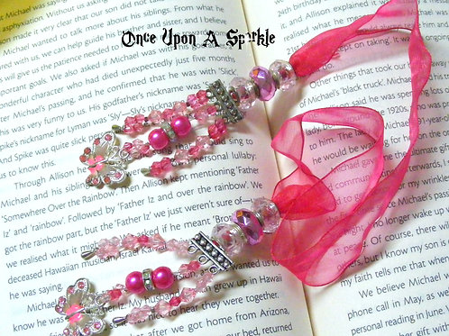hot pink organza ribbon bookmark with pink butterflies