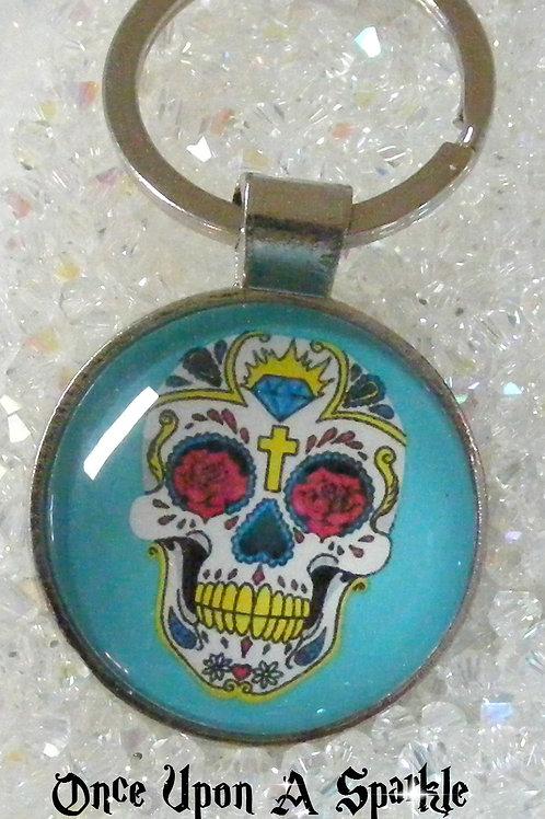 aqua sugar skull pendant key ring
