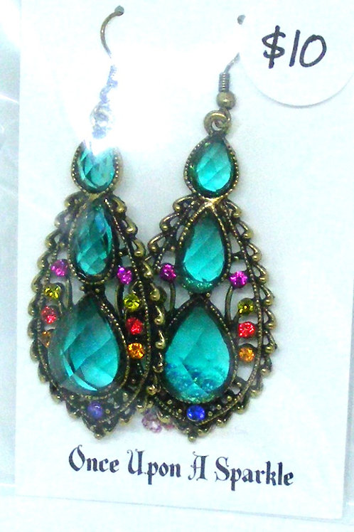 Teal Rhinestone Triple Tear Drop Earrings