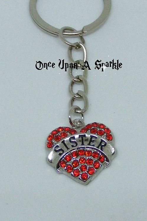 Key Ring Sister Red Crystal Heart