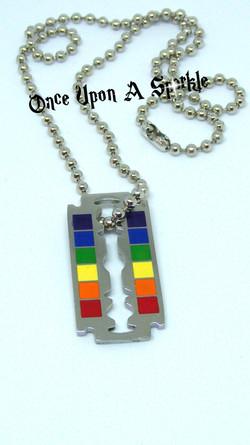 Necklace rainbow razor blade