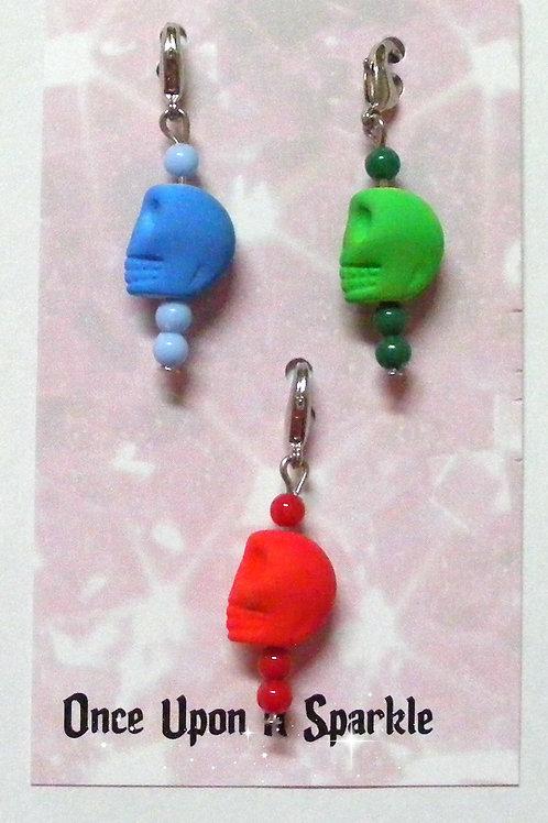 Zipper Pulls - Fluro Skulls blue green red