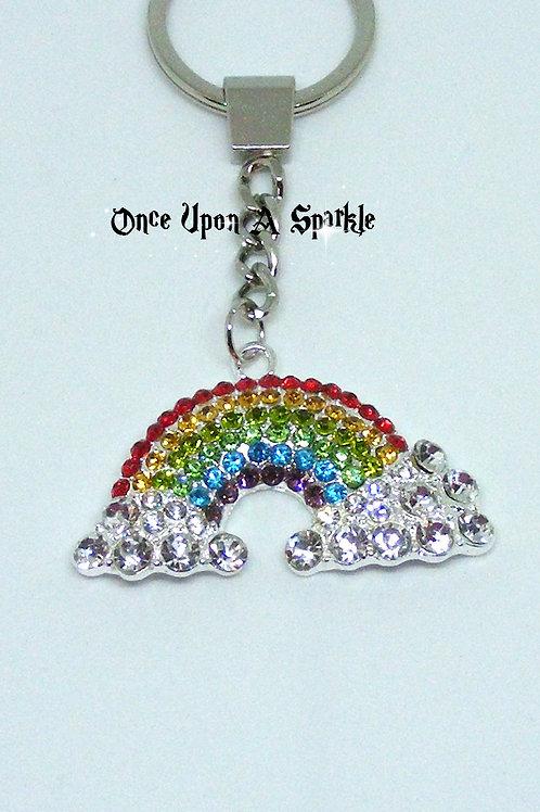 sparkly rainbow crystal key ring