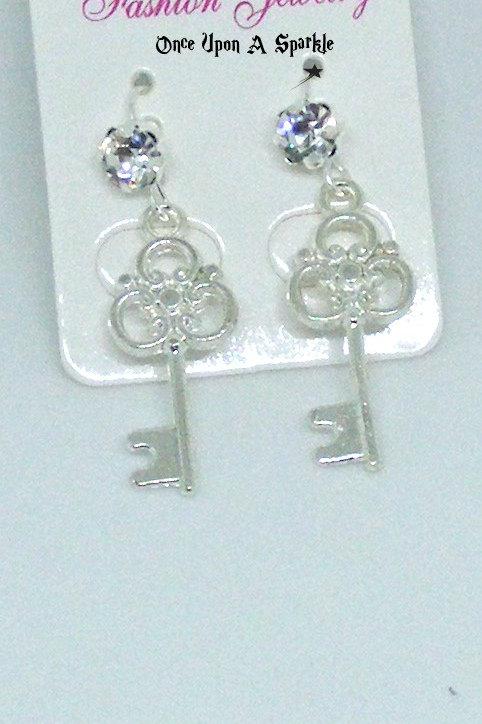 Silver Plate Keys with Rhinestone hooks
