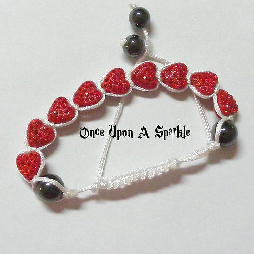 Bracelet - White Shamballa Red Crystal Hearts