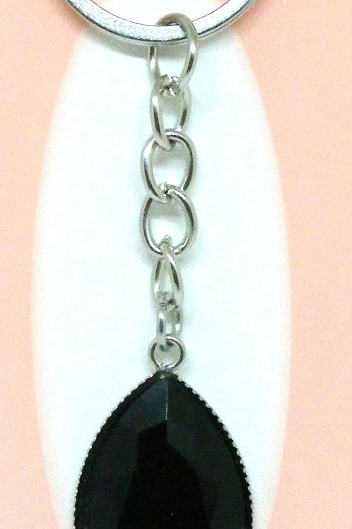 Black Tear Drop Key Ring