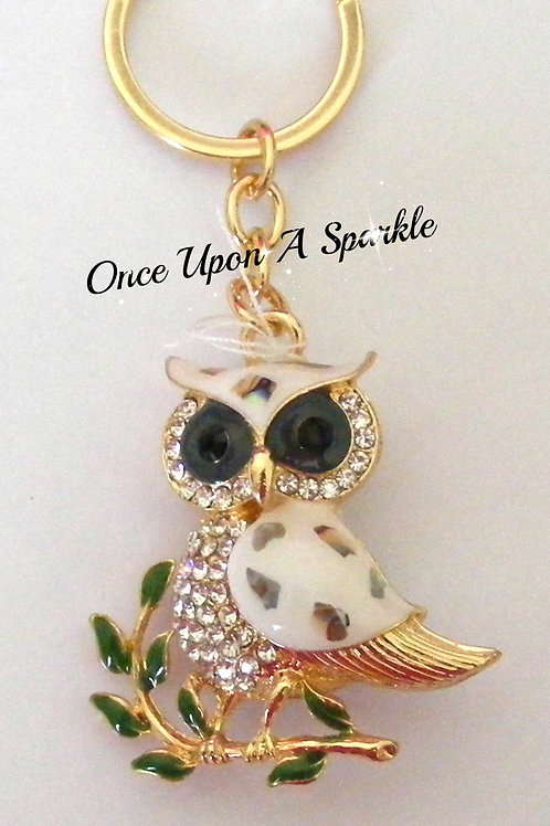 Key Ring - Gold Owl with crystals
