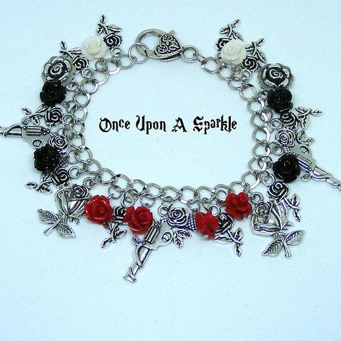 Guns & Roses Charm Bracelet Red & Black