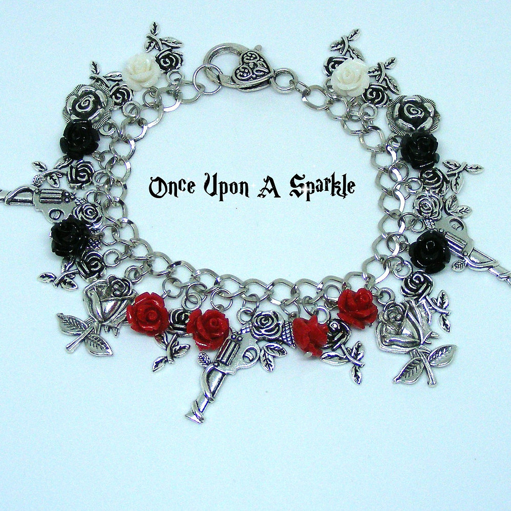 35df6203623c8 Charm Bracelet - Guns & Roses Red Black & White | onceuponasparkle