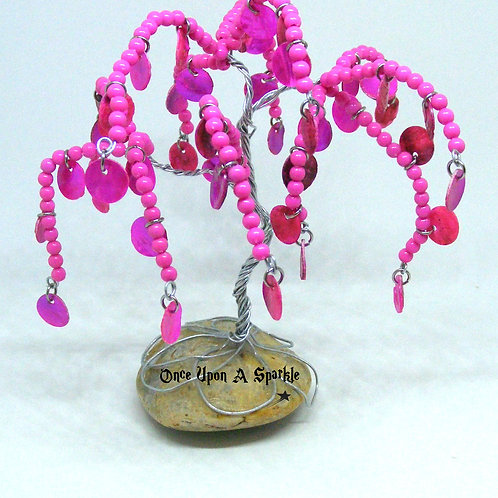 Hot Pink Bead & Shell Tree