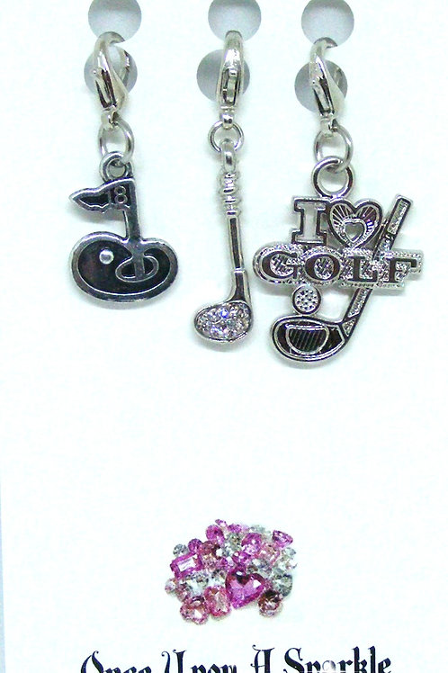 Zipper Pulls 18th hole clear crystal club I love golf