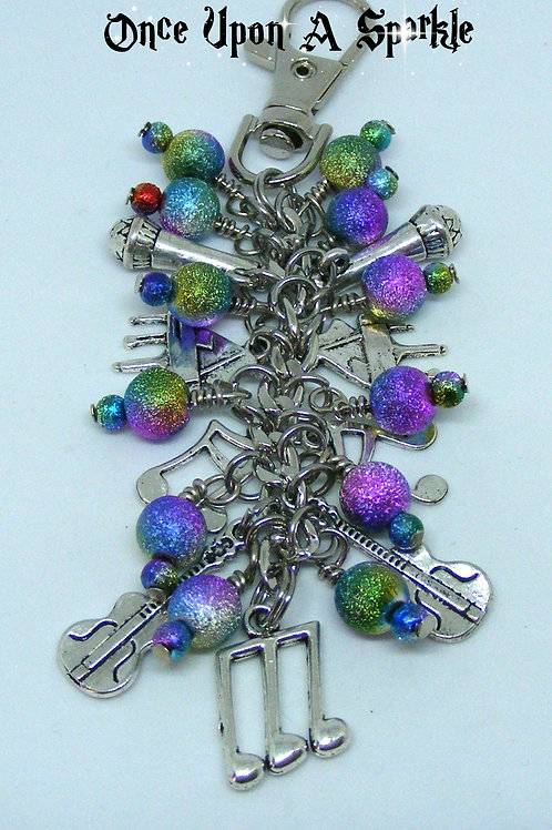 Music related bag dangle stardust beads