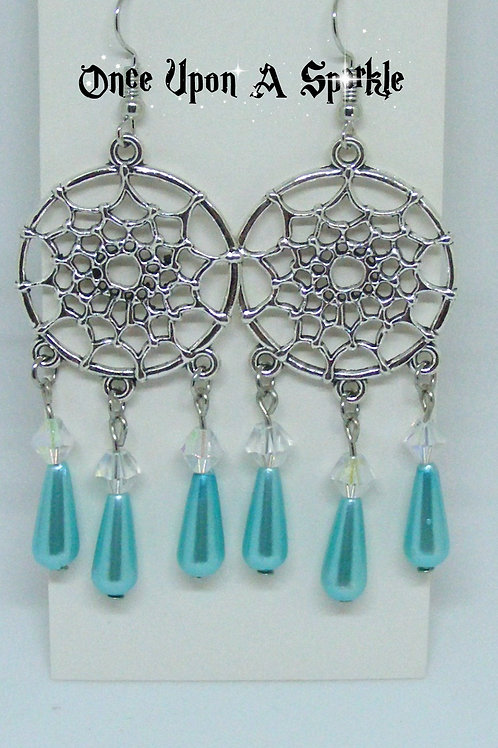 Dreamcatcher earrings with aqua imitation pearl teardrops