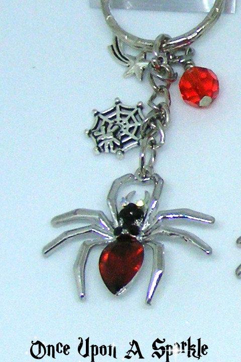 Red rhinestone spider key ring