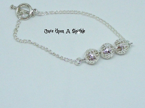 Silver Plated Chain Bracelet with 3 silver plated filigree beads