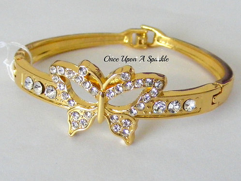 Bracelet - Gold Bangle Butterfly & Crystals