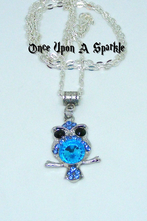 Silver chain with small blue rhinestone owl