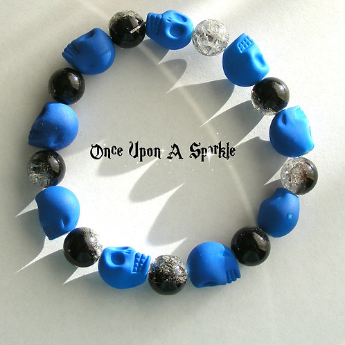 Bracelet - Stretch Blue Fluro Skulls