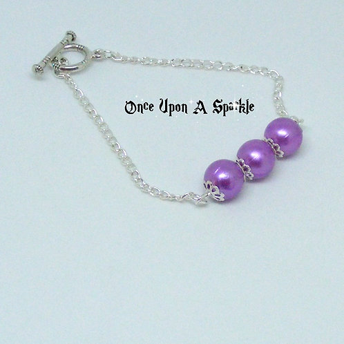 Silver plated chain bracelet lavender beads