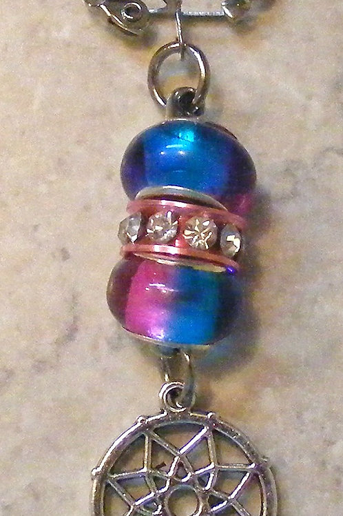 pink and aqua beads with antique silver dreamcatcher charm