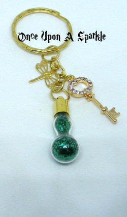 Key ring vial gp green glitter key with crystals dragonfly