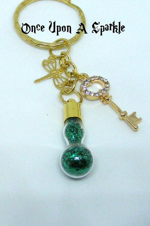 Green glitter vial key ring