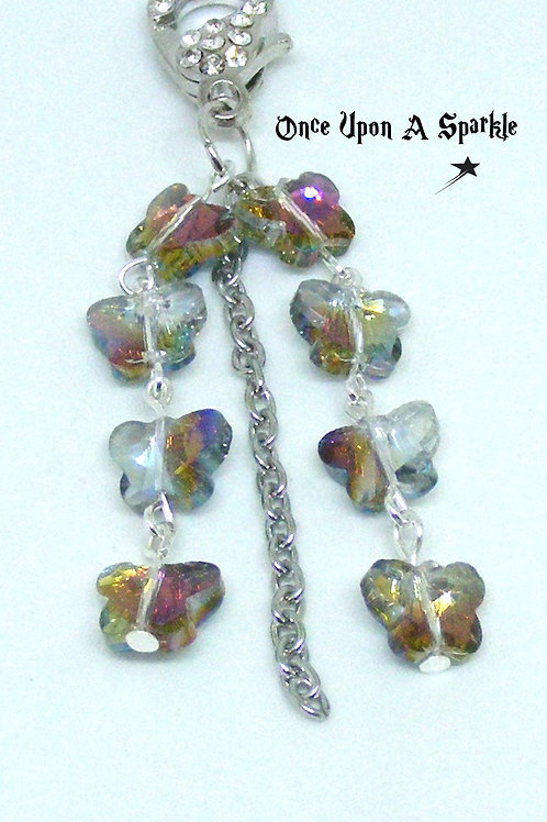 Rainbow/Grey Butterflies with chain
