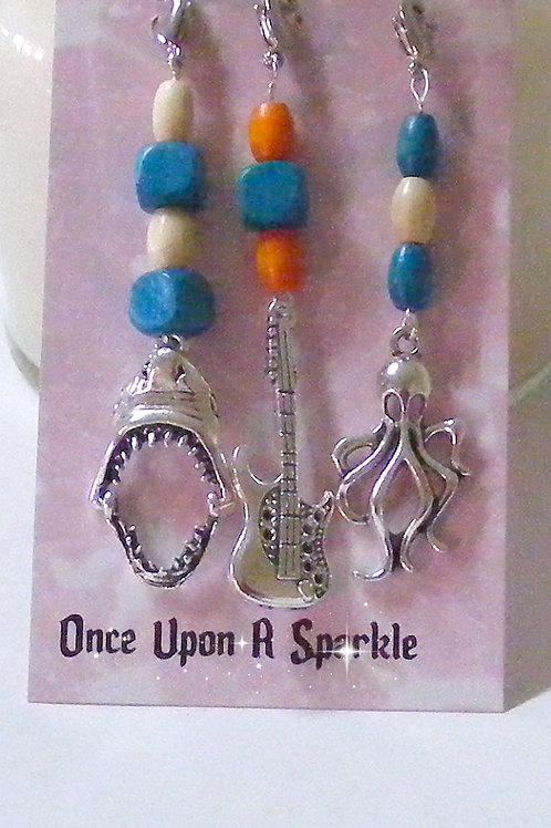Zipper Pulls - Shark Guitar Octopus