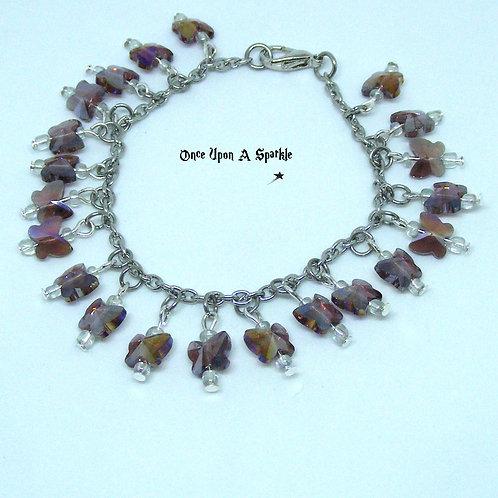 Amethyst Butterfly Charm Bracelet